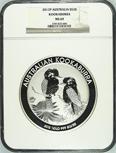 2013 AU Australia 2013 P Silver 30 Dollars 1 kilo kg KooK coin MS 69 NGC