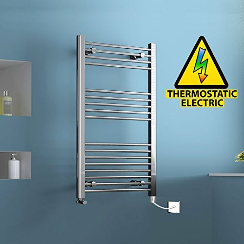 1200 x 600 mm Electric Straight Towel Rail Radiator Chrome Heated Ladder by - Towel Straight Heated Rail