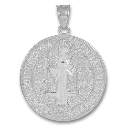 Medal of Saint Benedict 10k White Gold Coin Pendant (Medium)