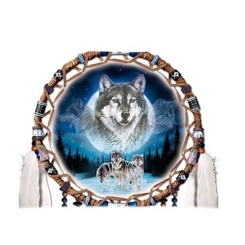 Twin Sides Rectangle Throw Pillow Case Decorative Pillow Cover Zippered Pillowcase With Wolf Dream Catcher Art 20x 30 Inch