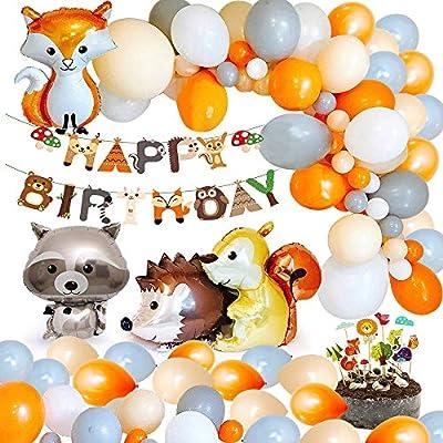 MMTX Decoraciones de fiesta cumpleaños animales, Woondland Banner de feliz cumpleaños de bosque Globo de látex 40pcs con Globo de papel de aluminio ...