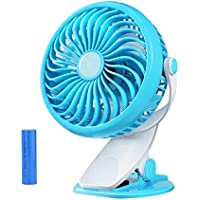 AndThere Battery Operated Fan Clip on Fan,2200mAh Battery 360 Degree Rotation Rechargeable Strong Wind,Personal Fan for Babystroller Traveling Camping Home Office(Blue)