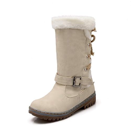 Femme Bottes de Neige Chaud Bas Lacet Rond Haut Bottes Hiver Boots Mode  Courts Doublure Plate 2e1eed97c65a