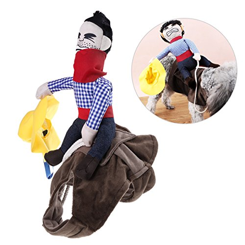 UEETEK Pet Costume Dog Costume Clothes Pet Outfit Suit Cowboy Rider Style,Fits Dogs Weight under 7 KG)- Size -