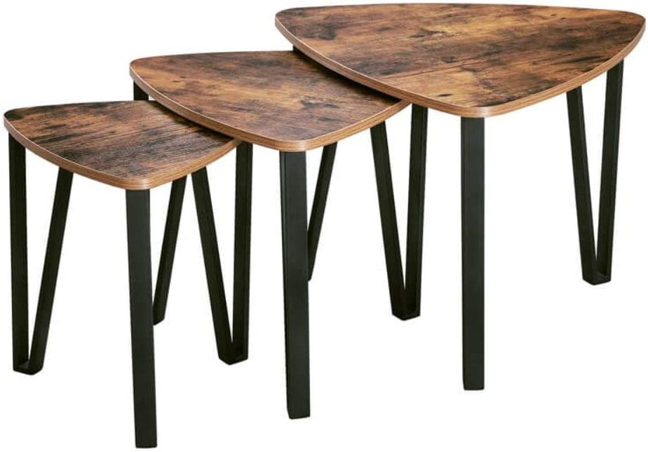 Benjara Wooden Triangular Nesting Tables with Iron Angled Legs, Brown and Black, Set of Three