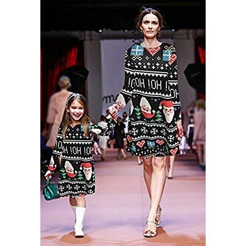 9231a2555e4 Minetom Femme Fille Mère et Fille Robe de Noël Manches Longues Imprimé  Bonhomme de Neige Père