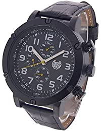Mens Watch Black Large Face Easy Read Leather Band Multifunction Day Date Reloj AQ202802-1G