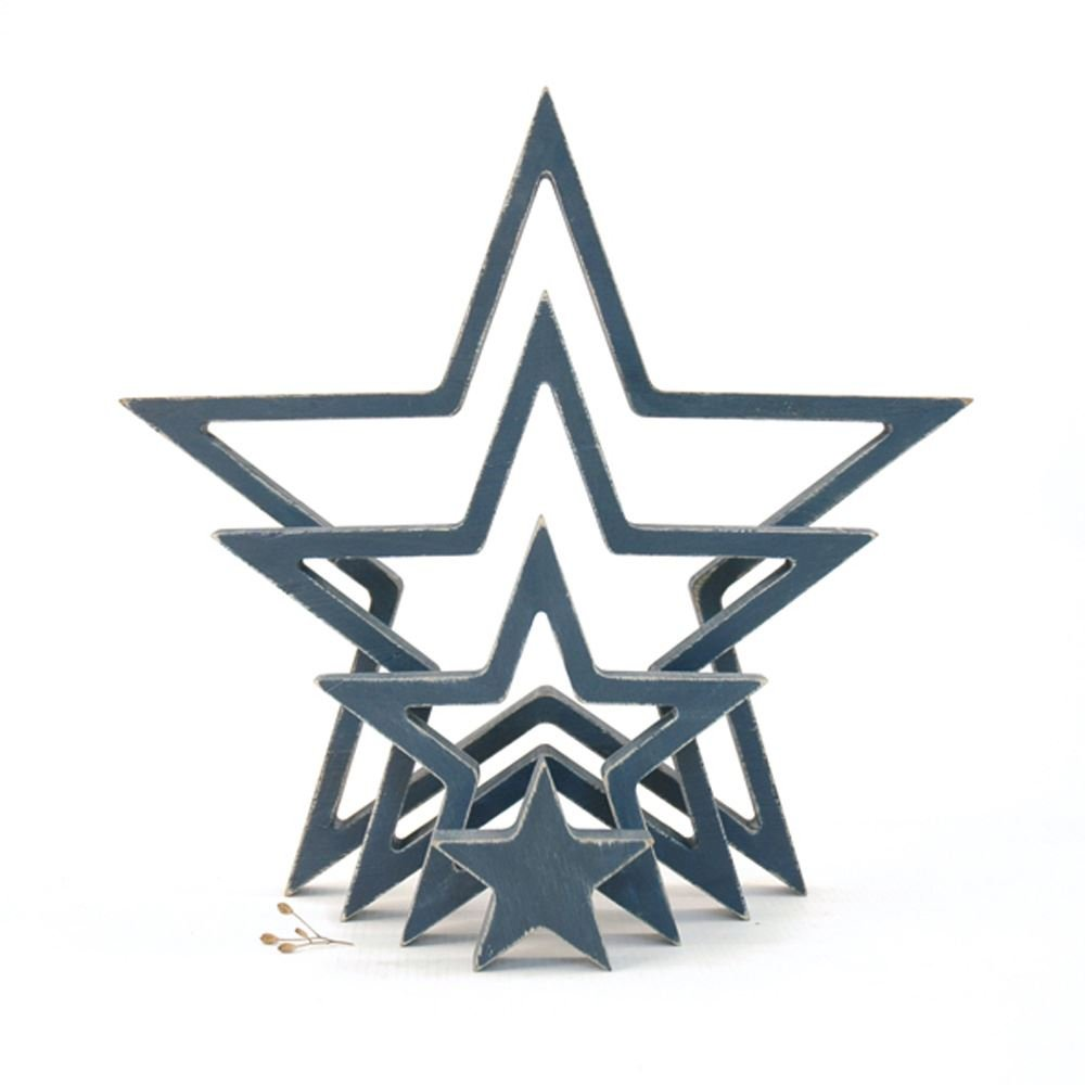 East Of India Hanging Wooden Outline Star Navy Set of 4 Home Decoration by East Of India (Image #1)