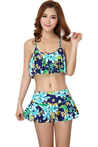 Womens Tankini Swimsuit Bikini Padded Bathing Suits Lotus Leaf Cover Up for Girl,Green & Blue,Medium / 34B/32C