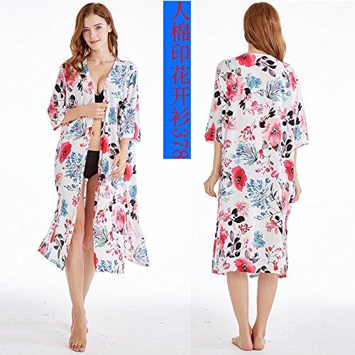 timbro di fino una sabbia grandi di Bikini di ShouYu di giacca dimensione tessuto bikini con nuova rivestimento coprire neve aprire floreali cantieri blu sunscreen 2018 shirt motivi qq7tHv