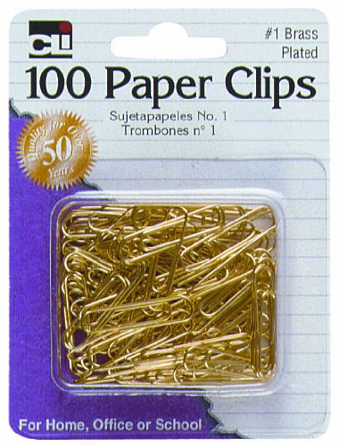 - Charles Leonard Paper Clips, #1 Gem, Brass Plated, Gold, 100-Pack (80733)