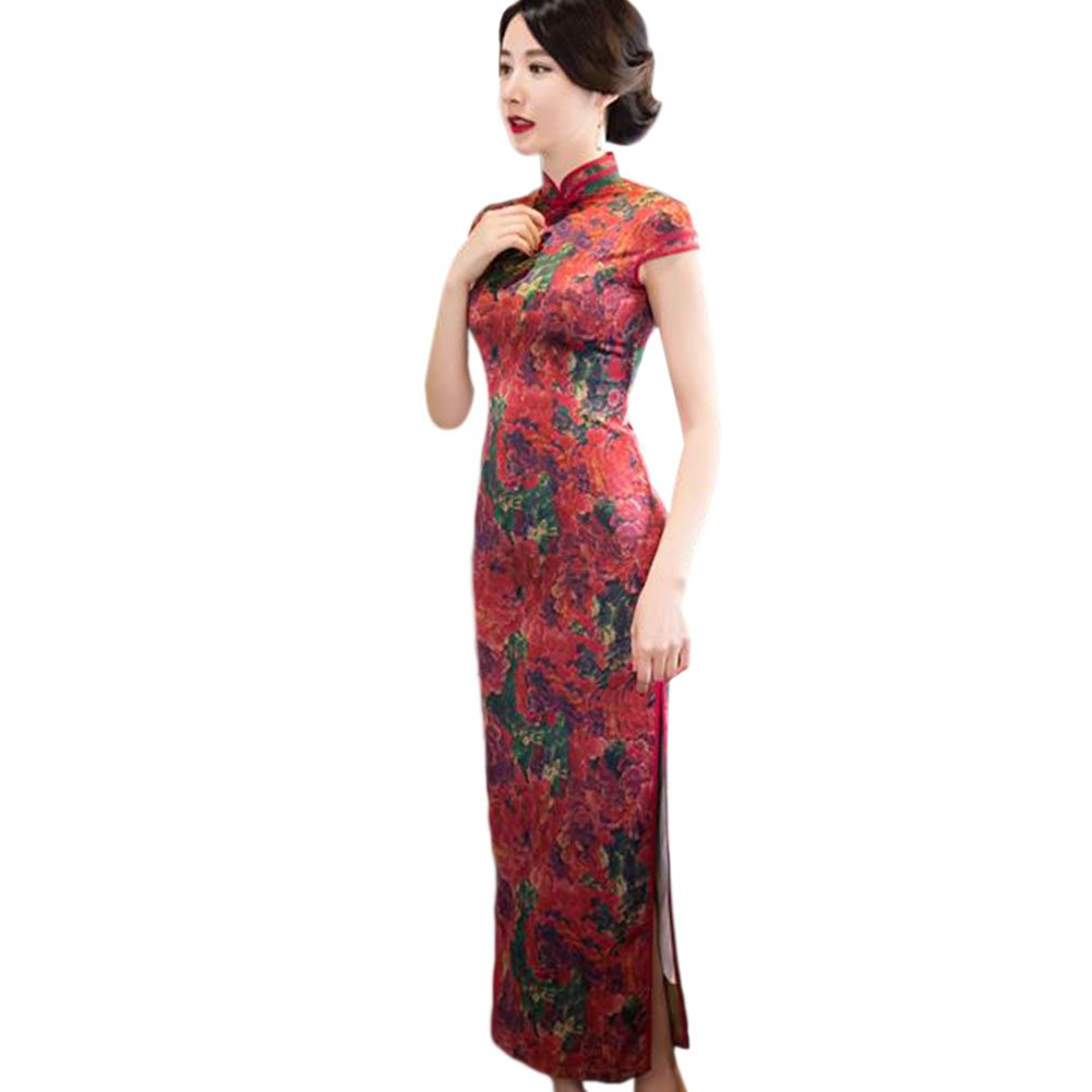 Meijunter Chinese Women Elegant Long Linen Qipao Evening Dress Floral Printed Silk Slim Cheongsam Robe: Amazon.co.uk: Clothing