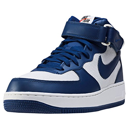 (Nike Mens Air Force 1 Mid 07 Leather Hight Top Lace Up, Blue, Size 10.0)