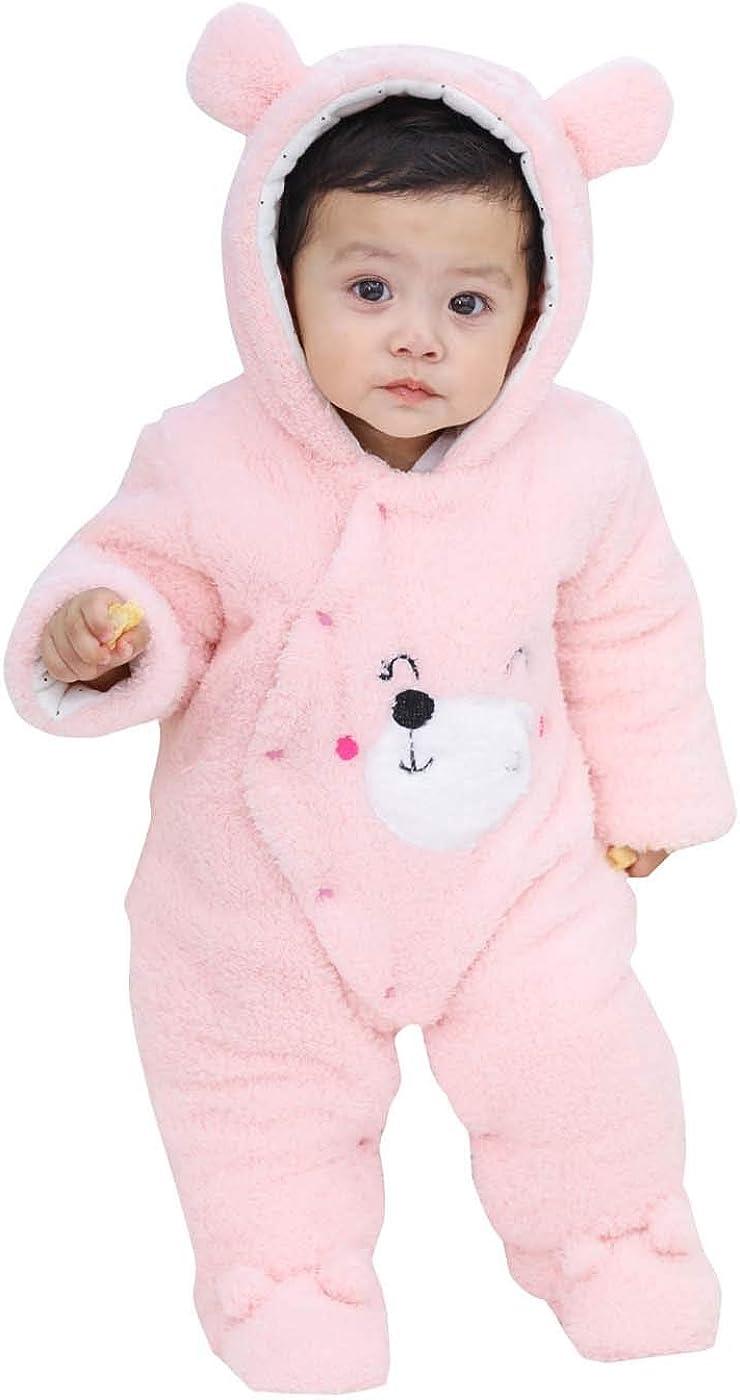 FEOYA Baby Snowsuit Hooded Romper Fleece Boy Girl Winter Clothes Newborn Hooded Jumpsuit Toddler Outwear 0-18 Months