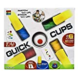 Zegoo Quick Cups Games for Kids with 24 Picture Cards, 30 Cups (6 Sets of 5 Colors Each), Bell & Instruction