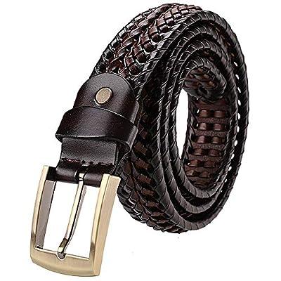 Earnda Men's Braided Belt Leather Woven Genuine Leather Belt