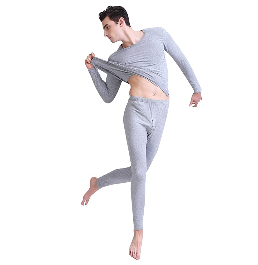 ZhiYuanAN Uomo 2Pcs Manica Lunga Intima Termica Collo Rotondo T Shirt Top + Long Johns Lunga Pantaloni Addensare Caldo Set Intima Termico Comodo Base Layer