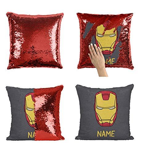 (Custom Name Superhero Boy Sequin Pillow, Superhero Personalized Sequin Pillowcase Add Your Text Name Custom Pillow with Boy Name, Personalized Mermaid Pillow Superhero_3_P408)