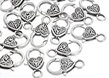 Souarts Antique Silver Color Heart Shape Claw Lobster Clasps Jewelry Finding 25x12mm Pack of 20pcs