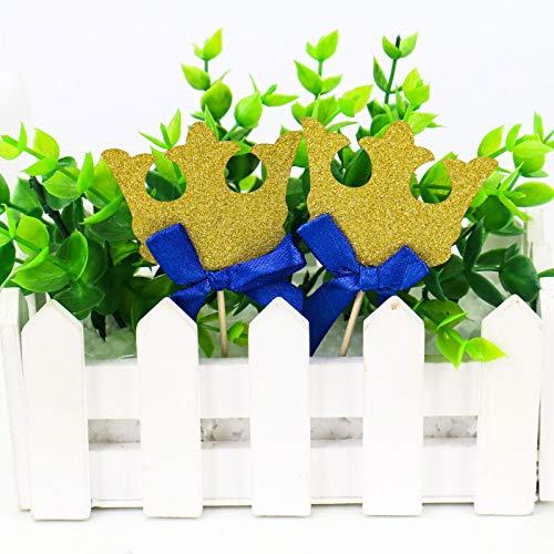 84bd25a2cc6c WSSROGY 20Pcs Gold Glitter Crown Cupcake Toppers Royal Prince Crown ...