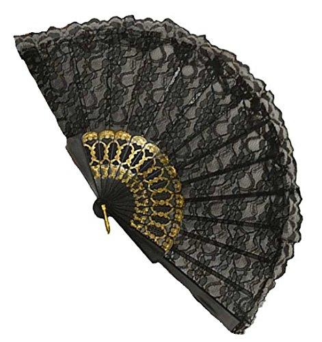 [Black Lace Plastic Fan - Fun Costume Accessory] (1800s Dresses Costumes)