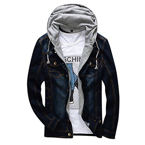 Casual Casual Giubbotti con Moda Manica Uomo di Nero Lunga Jeans Jeans Jeans Yuncai Cappuccio Cappotto Classico xI50vwR