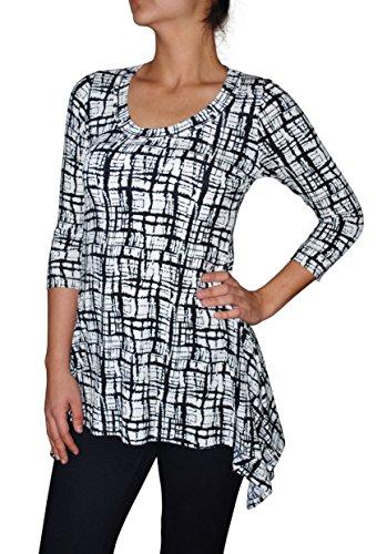 Karen Kane Women`s 3/4 Sleeve Handkerchief Top Black/White (S)