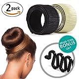 french twist hair accesory - Donut Bun Maker, Hair Bun Making Styling, Hair Band Accessory, DIY Fashion Hair Former Foam French Twist Clip Disk for Women Girls + Fishtail Braid Tool (2 PACK)