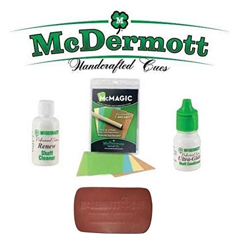 Cue Shafts - McDermott Billiards Pool Cue Shafts Maintenance Kit McMagic Micro Burnishing Papers + Ultra-Glide Shaft Conditioner + Renew Shaft Cleaner + Leather Pad Shaft Conditioner