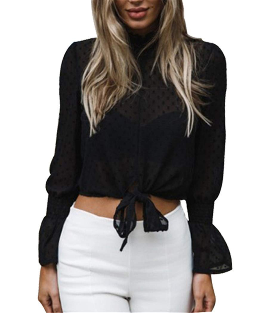 TBONTB Womens Casual Blouse Lotus Long Sleeve High Neck Tie Front Knot Chiffon Tops Black Medium