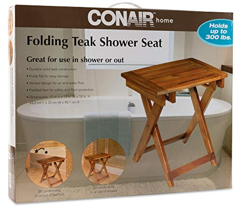 Folding Shower Stool with Slatted Seat and Crossed Legs - Made From 100% Teak Wood in Warm Natural Brown Finish