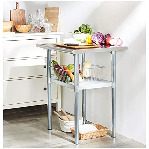 Rockpoint Carmona Tall NSF Stainless-Steel Kitchen Work Table with Adjustable Shelf, 30 x 23 Inch by ROCKPOINT (Image #2)
