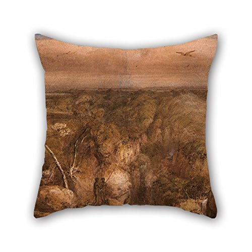 Slimmingpiggy Oil Painting William Westall - A Distant View Of Port Bowen, From Mount Westall Cushion Cases 16 X 16 Inches / 40 By 40 Cm For Home Family Lover Valentine Bedding Kids Girls With Both