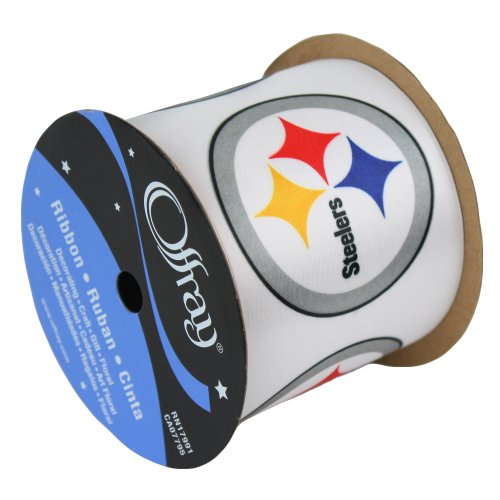 PITTSBURGH STEELERS RIBBON-PITTSBURGH STEELERS HAIRBOW RIBBON, CRAFTING RIBBON, GIFT WRAP RIBBON-2 1/2'' WIDTH-NFL RIBBON by Offray