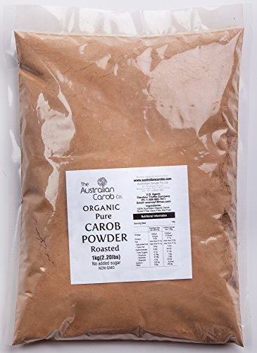 Organic Carob, Australian, 2.2lb.,Roasted Carob Powder, Superfood, World's #1 Best Tasting, NON-GMO, Roasted Carob Powder, Vegan,Organic Carob Powder,Carob, Aussie SharkBar,New Generation Carob, - Raw Carob Powder