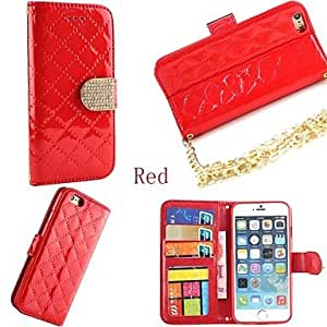 LCJ Fashion Squares Chain Design PU Leather Full Body Case with Card Slot Cover for iPhone 6 (Assorted Colors) , Blue