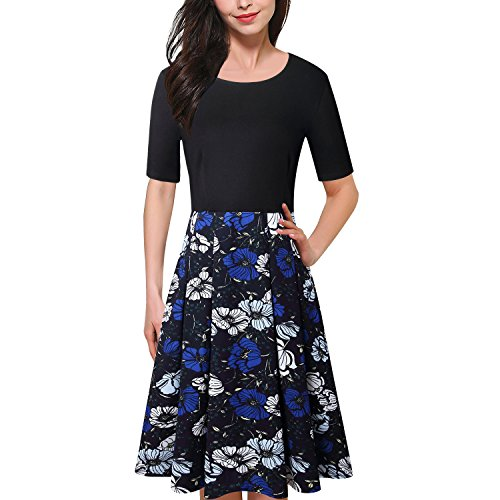 Caracilia Women Wear To Work Dress A-Line Vintage swing Pocket 9/8 Black S