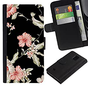 Billetera de Cuero Caso Titular de la tarjeta Carcasa Funda para Samsung Galaxy S5 Mini, SM-G800, NOT S5 REGULAR! / Floral Wallpaper Black Pink Garden Flowers / STRONG