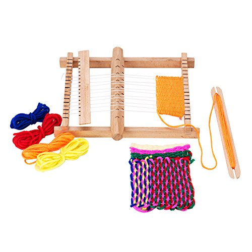 (PandaHall Elite 1 Set Wood Knitting Weaving Looms with Yarns Warp Adjusting Rods Combs and Shuttles Include Detailed)