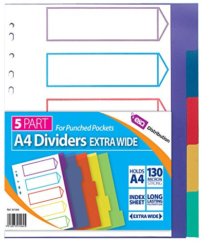 A4 File Dividers Plastic Coloured Tabs Subject Filing Numbered A-Z Extra Wide (5 Part A4 Dividers) E&A Distribution Limited