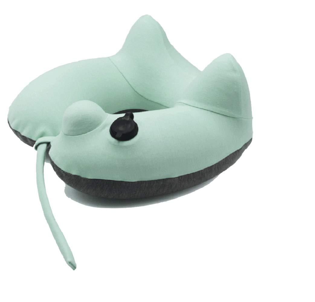FuweiEncore Kissen für Cervical-Reise-aufblasbarer Flugzeug-Hals für Auto-Grün