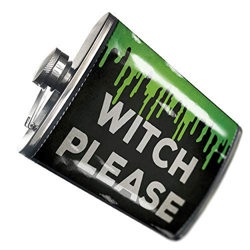 NEONBLOND Flask Witch Please Halloween Green Slime Hip Flask PU Leather Stainless Steel -