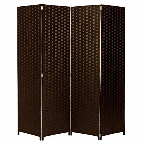 Hinged Room Dividers : Mygift panel hinged room divider woven paper rattan