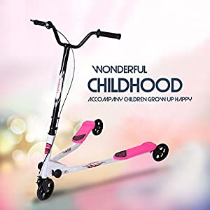 LAZYMOON Large Pink Y Flicker Scooter 3 Wheels Kids Drafting Kick Scooter for Boys/Girls Aged 5+