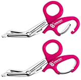 EMT Trauma Shears with Carabiner - Stainless Steel Bandage Scissors for Surgical, Medical & Nursing Purposes - Sharp 2-pack Scissor is Perfect for EMS, Doctors, Nurses, Cutting Bandages[Neon Pink]