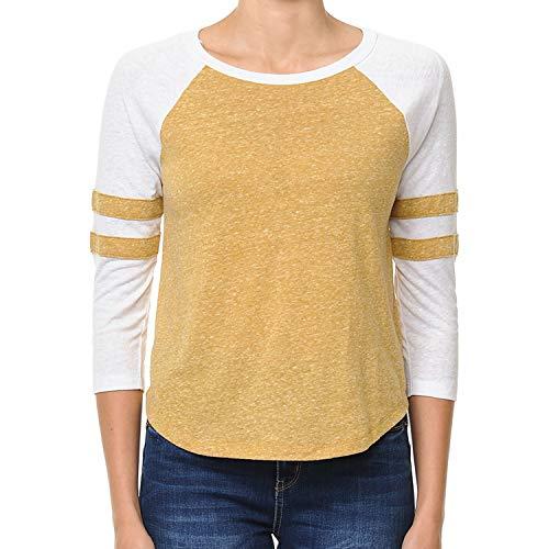 Re.Born Womens 3/4 Sleeve V Neck Raglan Casual Tee with Varsity Strips DkMustard S