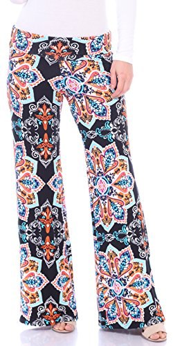 Abstract Floral Jersey - Popana Womens Comfy Chic Wide Leg Boho Print Palazzo Pants Plus Size Made in USA Medium ST26 Abstract