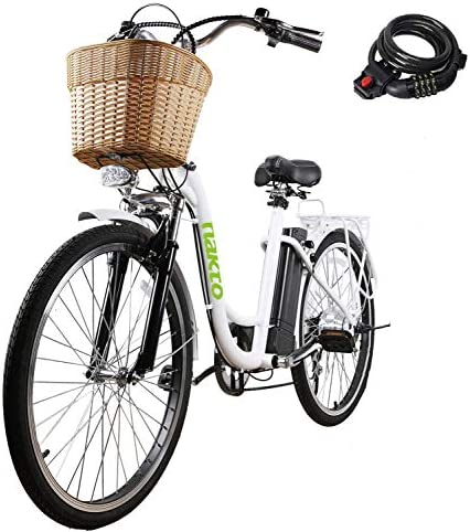 NAKTO Electric Bike for Adults 26 250W 350W Electric Bicycle for Man Women High Speed Brushless Gear Motor 6-Speed Gear Speed E-Bike with Removable Waterproof 36V10A Lithium Battery and Charger