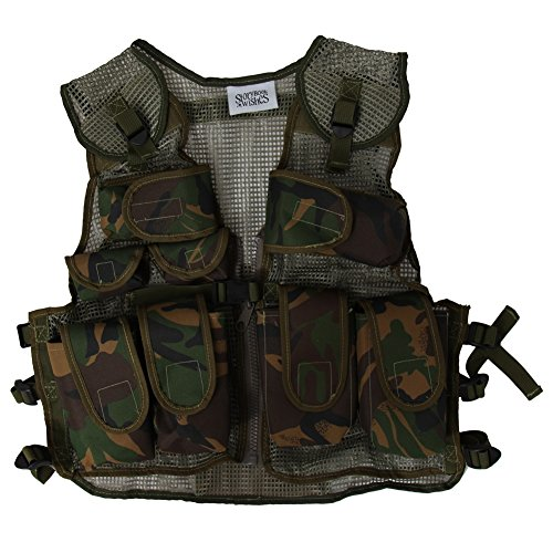 Camo Vest Costume (Kids Army Combat Multi-Pocket Adjustable Camouflage Vest)