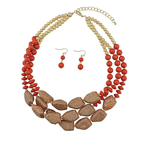 BOCAR Multi Layer Necklace for Women Beads Statement Chunky Necklace and Earring Set (NK-10204-vibrant ()